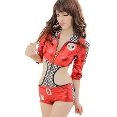【削除予定】レースクイーン コンパニオン キャンギャル セクシーコスチューム フロントファスナー コスプレ 衣装 赤