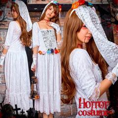 【削除予定】ハロウィン 花嫁 コスプレ ゾンビ コスチューム 仮装 衣装 ホラー ★ 大きいサイズセット