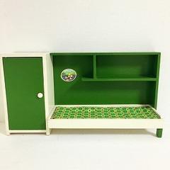●SOLD●【Lサイズ】70's イタリア レトロなベッドルームユニット 緑