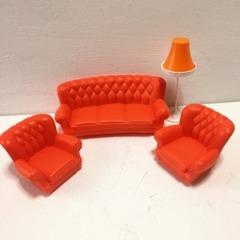 ●SOLD●【Mサイズ】レトロ オレンジのソファセット&ランプ