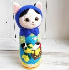 ★受注制作★猫マトリョーシカ・bigサイズ(レモン摘み)