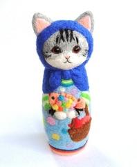★受注制作★猫マトリョーシカBIG(虹色のさかな)
