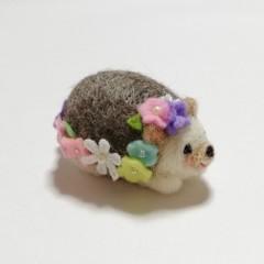 ★受注制作★羊毛ハリネズミのお花いっぱいピンクッション(パステル)