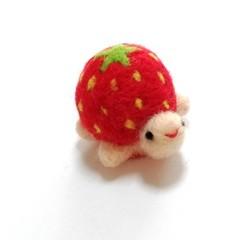 羊毛お洒落なかめさんピンクッション(苺)
