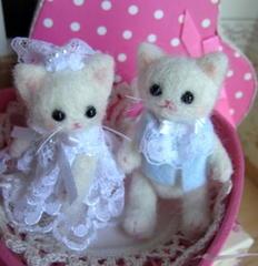小さなウェディング*白猫人形ペアセット
