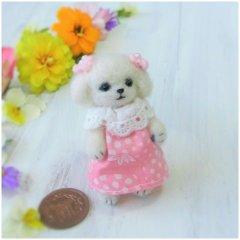 羊毛犬人形(マルチーズ・ほんわかピンク服)