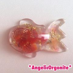 金魚型ミニ置物透明&赤1