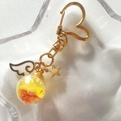 ガラスボール型バックチャーム黄色1
