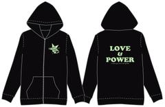LOVE&POWERパーカー(黒×グリーン)