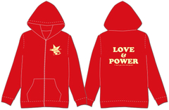 LOVE&POWERパーカー(赤×イエロー)