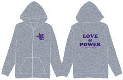 LOVE&POWERパーカー(グレー×パープル)
