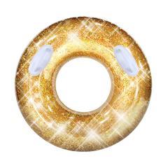Kimimara 浮き輪 大人用 夏浮輪 きらきら 輝くうきわ 可愛い 海水浴 プール 海 フロート インスタ映え スイミング リング ハンドル付き 金色 直経100cm (ゴールド)