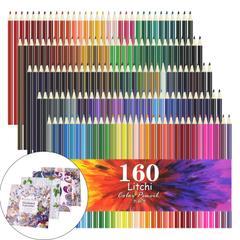 Litchi 色鉛筆 160色 油性色鉛筆 アート鉛筆 塗り絵 描き用 塗り絵本4本付き
