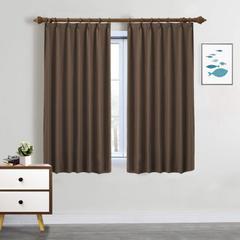 SeeSaw Home 遮光カーテン 1級 2枚組 ブラウン 形状安定 UVカット アジャスターフック付き 幅100cm丈135cm