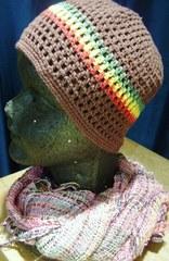 コットン手編みスカラキャップ