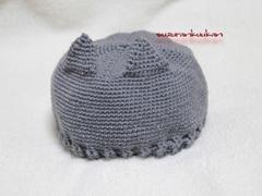 猫耳付き編み帽子<鼠灰>