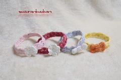 【再入荷】リフ編みフチ柄付き首輪 24cm 輪っかタイプ<選べる色系>