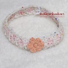 リフ編み首輪 Rit014 28cm<ピンク系段染め>輪っかタイプ
