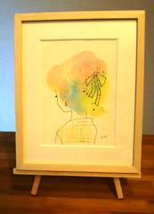 「リボンの女の子」水彩画作品