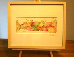 「三つ編みの上をかける」水彩画作品