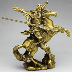 銅製 関羽騎馬(風水 開運 グッス)