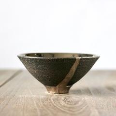 皹黒プラチナ彩碗