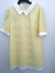 韓国ファッション かぎ編みレースワンピース