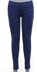 韓国ファッション シンプルカラーパンツ(ブルー)Sサイズ
