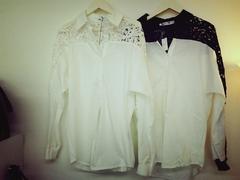 韓国ファッション かぎ編みゆったりシャツ