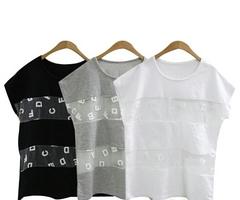 韓国ファッション セクシーアルファベットカットソー(3色)