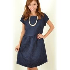 韓国ファッション ショルダーサテンリボン ジャガード織りワンピース (Fサイズ)