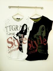 韓国ファッション 背中波GirlTシャツ(タイプ1)