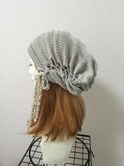1342 帽子ターバン:シルク100% グリーン×シルバー