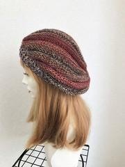 1626 マーブル模様の薄手たっぷり帽子:茶赤
