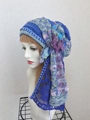 1758 海と貝殻:紫プラス 布巻帽