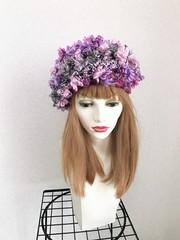 1616 夢見る花ベレーピンク×グレー(深くかぶれるタイプ)