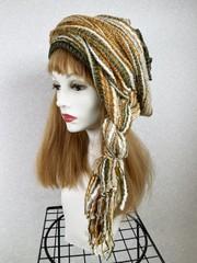 1867 布巻き帽:織り巻き黄ベージュ