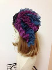 1108 風まちフリルベレー帽:紫青レース