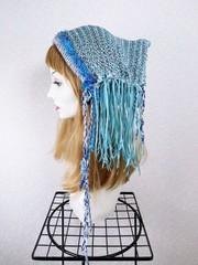 1885 揺れるリボンの帽子ターバン:ブルー