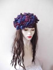 506  夢見る花ベレー:紫ダークカラー