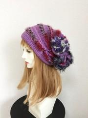 1504 和み虹色やさしい帽子:毒紫