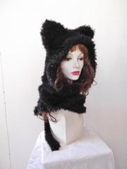 525 黒猫マフラーフード