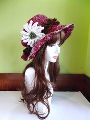 ガーベラリボンの麦わら帽子