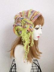 1864 リボン編みの帽子ターバン:虹ピンクオレンジ