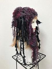 1648 ロング耳あて帽子 紫の毛皮風