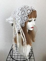 1669 布巻き帽:花レース