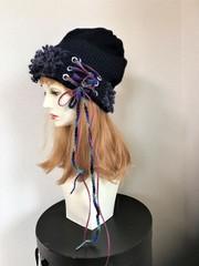 1530 編み上げ帽子+お花と葉のハットピン(別売り)