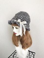 1631 ふんわりモヘヤ帽がハットに変身帽