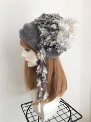 1606 2段ファーのフワフワベレー帽