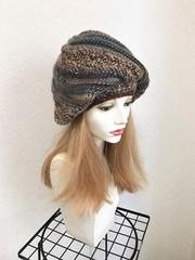 1546 マーブル模様の薄手たっぷり帽子:茶×青